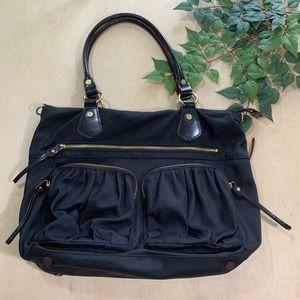 MZ Wallace Belle Large Black Shoulder Bag Pockets